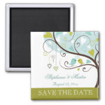 Apple green and soft blue love birds save the date fridge magnets