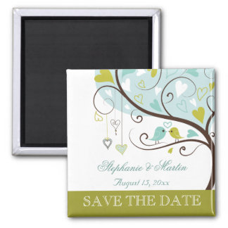 Apple green and soft blue love birds save the date magnet