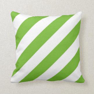 Apple Green and White Diagonal Stripes Pillow