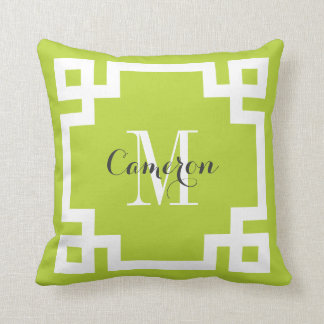 Apple Green and White Greek Key Monogram Pillow