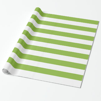 Apple Green and White Large Striped Wrapping Paper