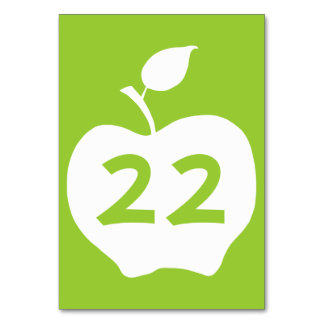 Apple Green and White Number Card