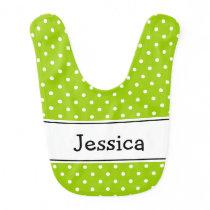 Apple green and white polka dot pattern baby bib