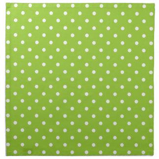 Apple green and white polka dot pattern napkins