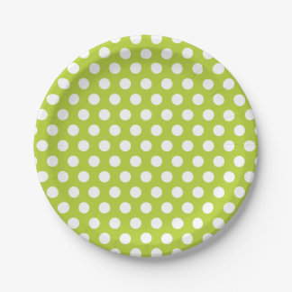 Apple Green and White Polka Dots Paper Plate