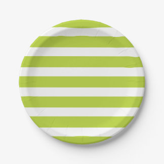 Apple Green and White Stripes Paper Plate