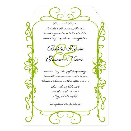 Apple Green Antique Frame Wedding Invitation