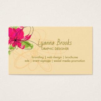 Apple Green Beige Crimson Floral Business Card