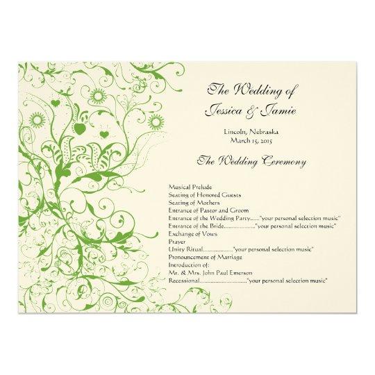 Apple Green Birds Swirl Wedding Order of Service Card