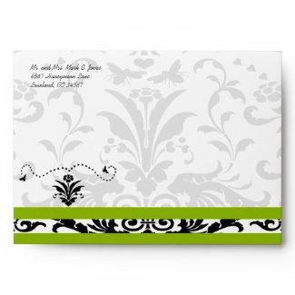 Apple Green Black Bubble Bee Damask Envelopes envelope