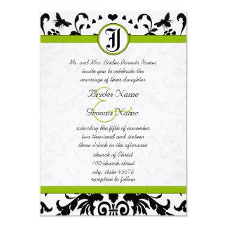 Apple Green Black Bubble Bee Damask Wedding Invite