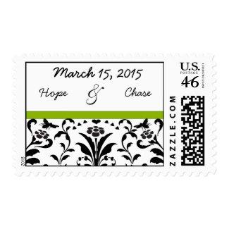 Apple Green & Black Bumble Bee Swirl Wedding Stamp stamp