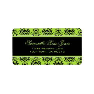Apple Green & Black Damask Elegant Address Label