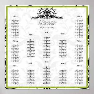 Apple Green & Black Damask Seating Chart 12 Tables print