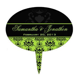 Apple Green & Black Damask Wedding Cake Topper