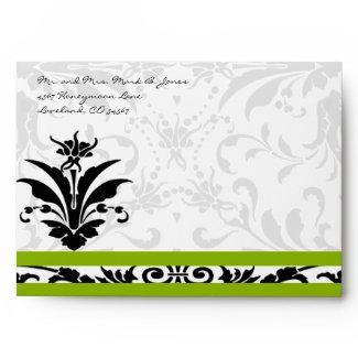 Apple Green Black Damask Wedding Envelopes envelope