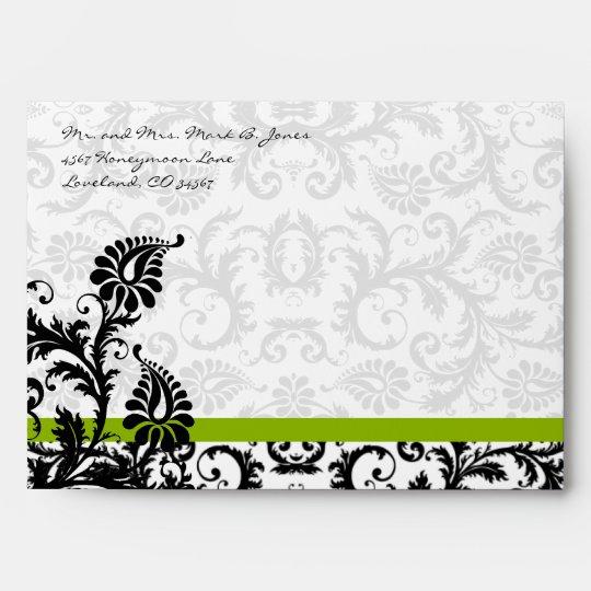 Apple Green Black Damask Wedding Envelopes
