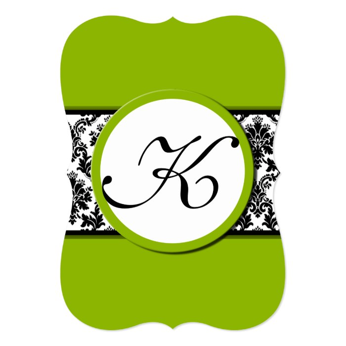 Apple Green Wedding Invitations: Apple Green & Black Damask Wedding Invitation