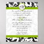Apple Green Black Damask Wedding Invitation Print