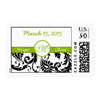 Apple Green & Black Damask Wedding Stamp
