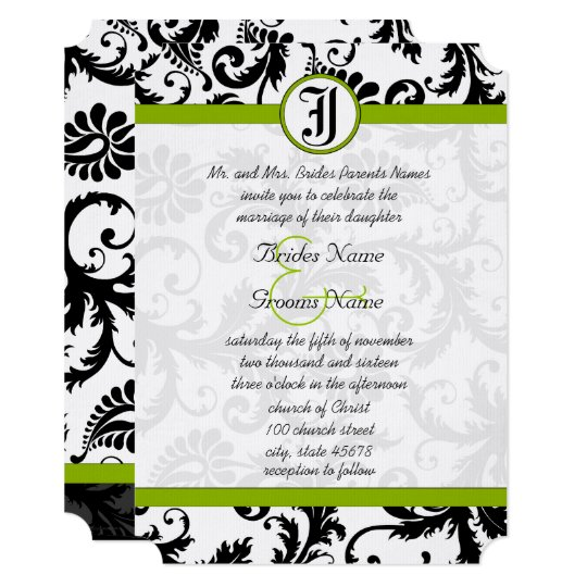 Apple Green Wedding Invitations: Damask Wedding Invitations