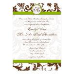 "Apple Green & Brown Damask Wedding Invitation 5"" X 7"" Invitation Card"