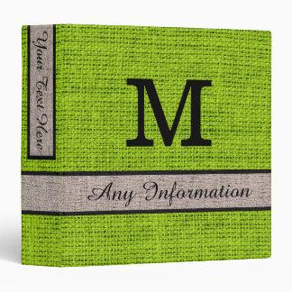 Apple green Burlap Linen Monogram 3 Ring Binder