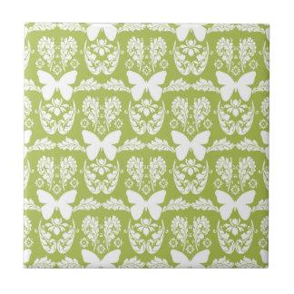 Apple Green Butterfly Damask Ceramic Tile Trivet