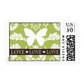 Apple Green Butterfly Damask Love Stamp