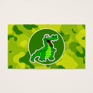 Apple Green Camo; Alligator, Gator Business Card