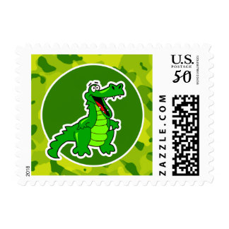 Apple Green Camo; Alligator, Gator Postage