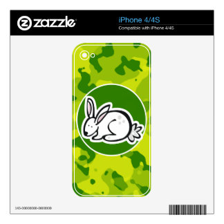 Apple Green Camo Bunny rabbit Decals For The iPhone 4S