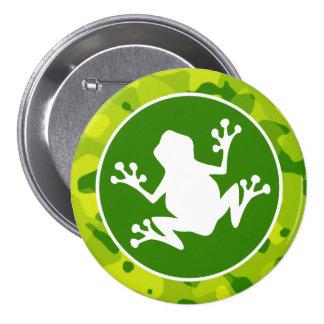 Apple Green Camo; Frog Pinback Button
