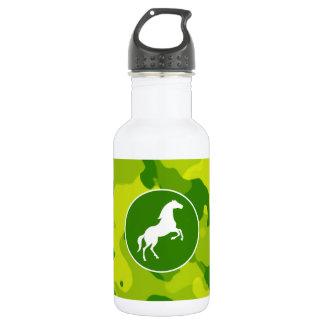 Apple Green Camo; Horse, Equestrian Water Bottle