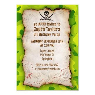 "Apple Green Camo; Jolly Roger 4.5"" X 6.25"" Invitation Card"