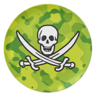 Apple Green Camo; Jolly Roger Party Plate