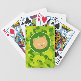 Apple Green Camo; Kitten Bicycle Playing Cards