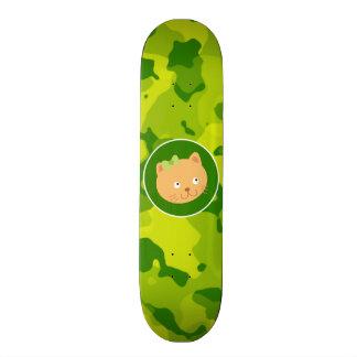 Apple Green Camo Kitten Skate Board