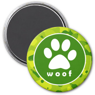 Apple Green Camo; Paw Print Magnet