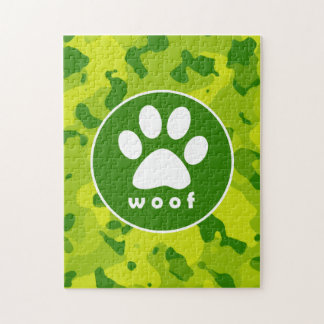Apple Green Camo; Paw Print Puzzle