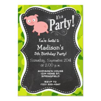 Apple Green Camo; Pig 5x7 Paper Invitation Card
