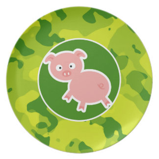 Apple Green Camo; Pig Party Plate