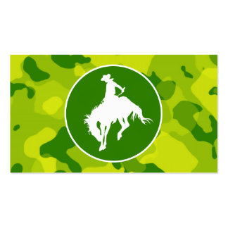 Apple Green Camo; Rodeo Cowboy Business Card Templates