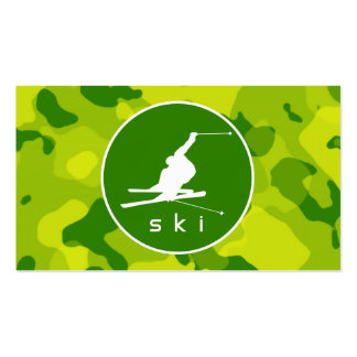 Apple Green Camo; Snow Ski Double-Sided Standard Business Cards (Pack Of 100)