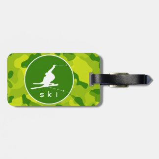 Apple Green Camo; Snow Ski Tags For Bags