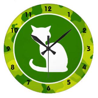 Apple Green Camo; White Cat Large Clock
