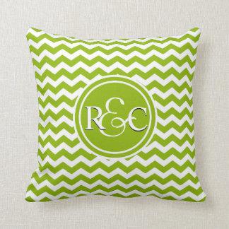 Apple Green Chevron Personalized Initials Monogram Throw Pillow