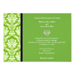 Apple Green Classic Damask Wedding Invitation