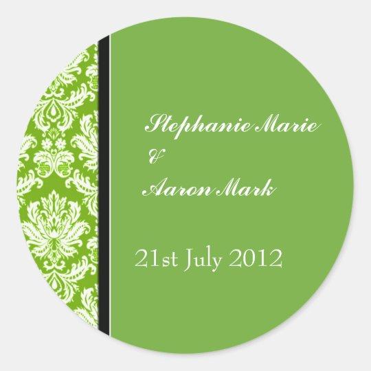 Apple Green Classic Damask Wedding Label Sticker