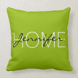 Apple green color home monogram throw pillow